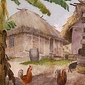 Two Chickens Two Pigs And Huts Jamaica by William Berryman