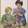Two Children Play With Chicks by Mary Evans Picture Library