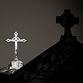 Two Crosses In Jerusalem In Black And White by Anthony Doudt