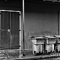 Two Doors And Three Cans Mono by John Rizzuto