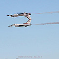 Two F-16 Thunderbird Falcons Flying Tail To Tail by Carl Deaville