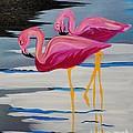 Two Flamingo's In Acrylic by Janice Pariza