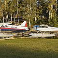 Two Float Planes On Moosehead Lake Near Greenville Maine  by Keith Webber Jr