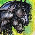 Two Fresian Horses by Angel Ciesniarska