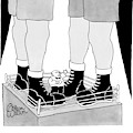Two Giant Boxers Stand In A Regular Sized Boxing by Gahan Wilson
