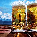 Two Glasses Of Beer With Mountains by M Bleichner