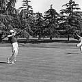 Two Golfers Body English by Underwood Archives