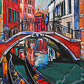 Two Gondolas In Venice by Mona Edulesco