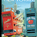 Two Huge Double Decker Tourist Buses Shooting by Bruce McCall