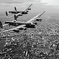 Two Lancasters Over London Black And White Version by Gary Eason