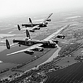 Two Lancasters Over The Upper Thames Black And White Version by Gary Eason