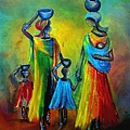 Two Little Girls Carrying Water by Marietjie Henning