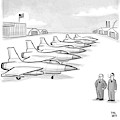 Two Men Look At A Hanger Of Fighter Jets by Paul Noth