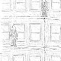 Two Men On Different Ledges Of A Building by Robert Mankoff