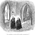 Two Monks Walk Through A Monastery by Frank Cotham