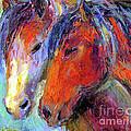 Two Mustang Horses Painting by Svetlana Novikova