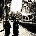 Two Nuns - Sepia - Novodevichy Convent - Russia by Madeline Ellis
