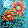 Two Orange Sunflowers by Genevieve Esson