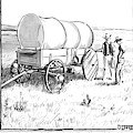 Two Pioneers Discuss The Wheels Of Their Wagon by Matthew Diffee