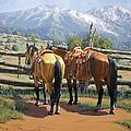 Two Saddle Horses by Randy Follis