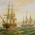 Two Ships Passing At Sunset by Claude T Stanfield Moore