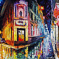 Two Streets - Palette Knife Oil Painting On Canvas By Leonid Afremov by Leonid Afremov