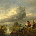 Two Vedettes On The Watch By A Stream by Philips Wouwerman