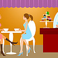 Two Woman Friends Having Coffee by David Gn