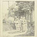 Two Women And A Man On A Farm, Print Maker Marie Lambertine by Marie Lambertine Coclers