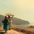 Two Women Chatting By The Sea. St Thomas by Camille Pissarro