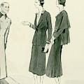 Two Women Wearing A Chanel Jersey Suit by Rene Bouet-Willaumez