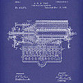 Type Writer 1885 Patent Art Blue by Prior Art Design