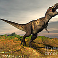 Tyrannosaurus Rex Dinosaur Walking by Elena Duvernay