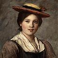 Tyrolean Dirndl With Straw Hat by Franz Von Defregger