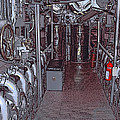 U S S Bowfin Submarine Engine Room by Daniel Hagerman