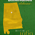 Uab University Of Alabama At Birmingham Blazers College Town State Map Poster Series No 009  by Design Turnpike
