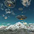 Ufos Flying Over A Mountain Range by Mark Stevenson