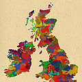 Uk Watercolor Map by Chris Smith