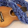 Ukulele And Blue Ribbon Lei by Mary Deal