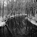 Ultra Rez Winter Stream 2 Black And White by Clint Buhler