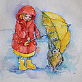 Umbrella Girl With A Kitty by Mikyong Rodgers