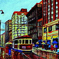 Umbrellas In The Rain Couples Stroll St.catherine Street Downtown Montreal Vintage  City Scene  by Carole Spandau