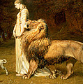 Una And Lion From Spensers Faerie Queene by Briton Riviere