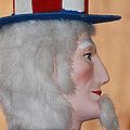 Uncle Sam Closeup Red White And Blue by Robert D  Brozek