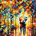 Under One Umbrella - Palette Knife Figures Oil Painting On Canvas By Leonid Afremov by Leonid Afremov