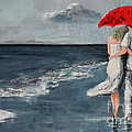 Under Our Umbrella - Modern Impressionistic Art - Romantic Scene by Patricia Awapara