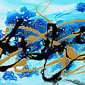 Under The Sea Original Abstract Blue Gold Painting By Madart by Megan Duncanson