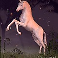 Unicorn In A Moonlit Forest Glade by Fairy Fantasies