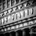 Union Station Chicago Sign In Black And White by Paul Velgos