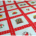 Unique Quilt With Christmas Season Images by Barbara Griffin